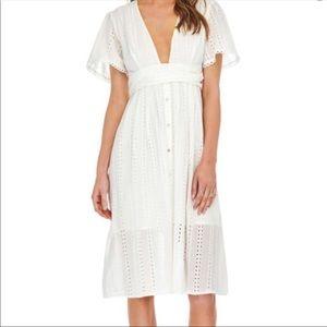 NEW Astr the Label Eyelet Liv Midi Dress XS